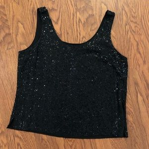 Eileen Fisher | Black Silk Sleeveless Sequined Top